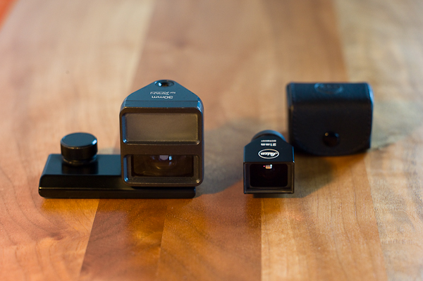 Hasselblad XPAN finder and Leica 21mm mirror finder